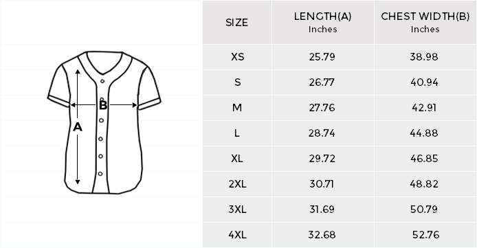 jersey size chart